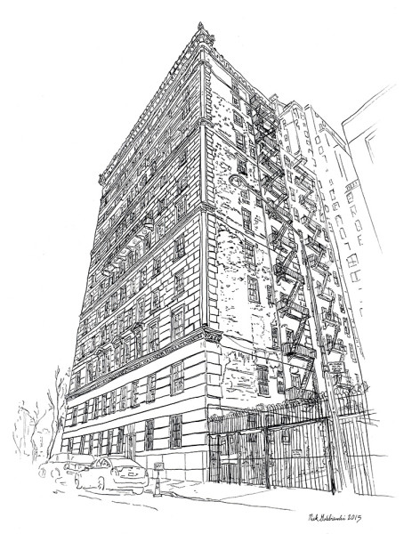 "820 Fifth Avenue Fire Escapes, Pen & Ink, 11""x14"", 2015"