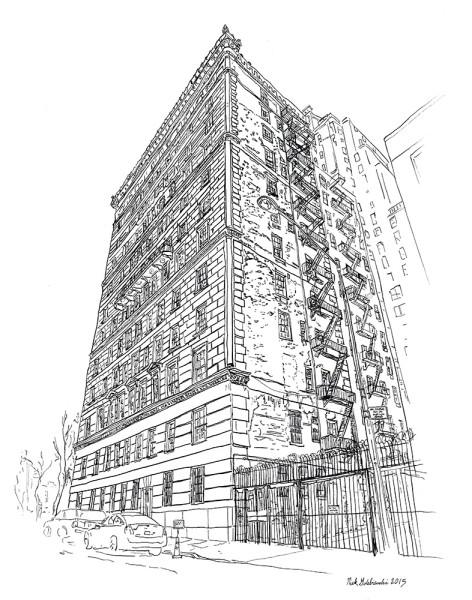 "820 Fifth Avenue Fire Escapes, Pen & Ink, 11""x14"", 2015"