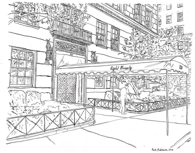 "820 Fifth Avenue Awning, Pen & Ink, 11""x14"", 2015"