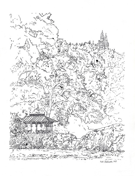 "Ladies Pavilion in Central Park, Pen & Ink, 11""x14"", 2015"