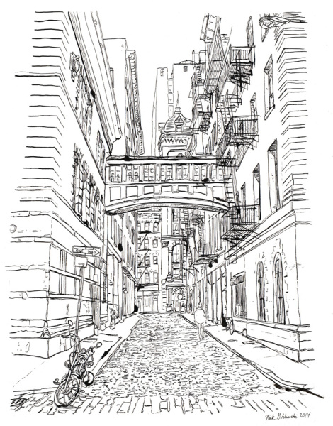"Staple Street, Pen and Ink, 11""x14"". 2014."