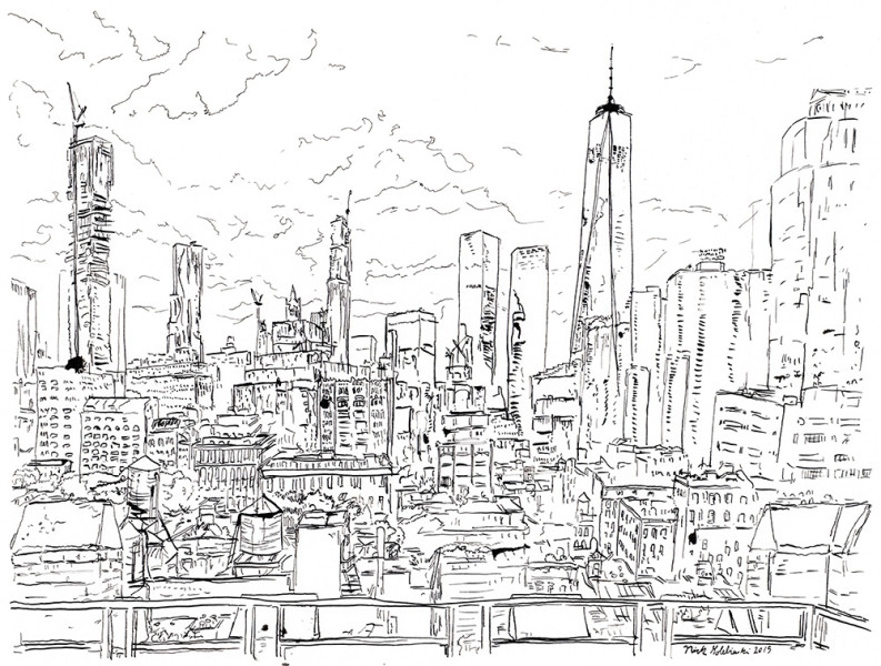 "Tribeca Rooftop, Pen & Ink, 11""x14"", 2015"