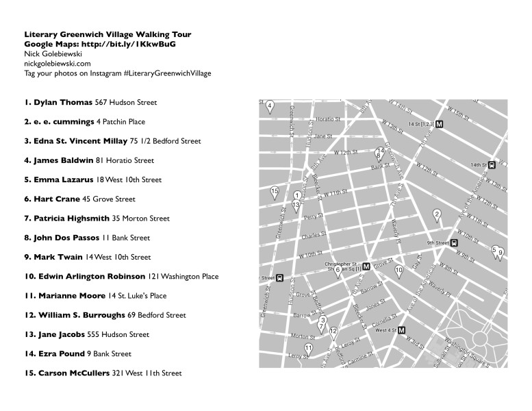 Nick Golebiewski - Literary Greenwich Village - Info Sheet2